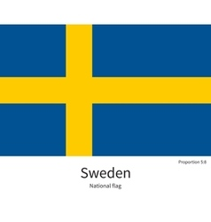 National flag of Sweden with correct proportions vector