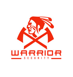 Native american warrior security mascot vector