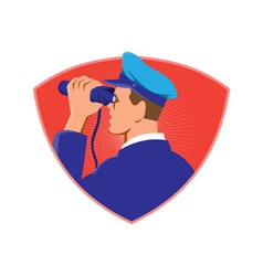 navy captain looking binoculars shield retro vector image