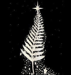 new zealand silver fern christmas tree vector image