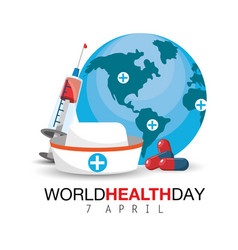 Nurse hat and syringe to world health day vector