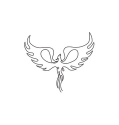 one single line drawing luxury phoenix bird vector image