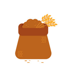 opened canvas sack full of grain - symbol of vector image