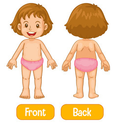 Opposite words with front and back little girl vector