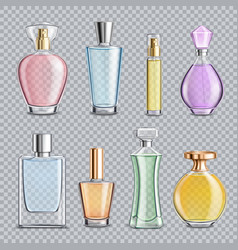 Perfume glass bottles transparent background vector