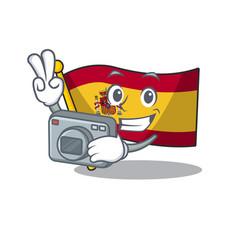 Photographer flag spain isolated in cartoon vector