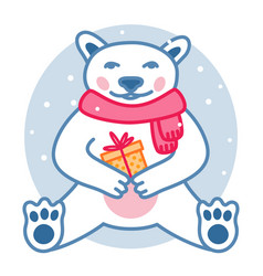 polar bear with wrapped present box wears red vector image