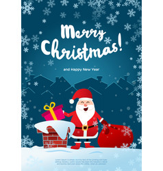 poster merry christmas santa claus on the roof vector image