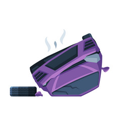 Purple car lying on its roafter crash auto vector