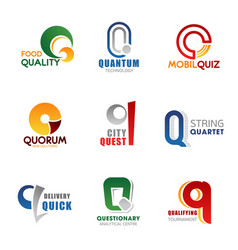 q letter corporate identity business icons vector image