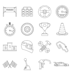 Racing speed icons set ouline style vector