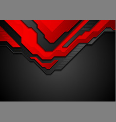 red and black contrast abstract technology vector image