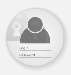 Round authorization panel for the website vector