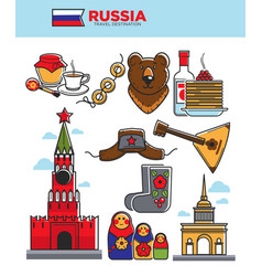 russia travel tourist famous symbols or soviet vector image