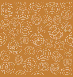 seamless pattern of outline pretzel vector image