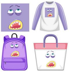 Set monster facial expression clothes mock up vector