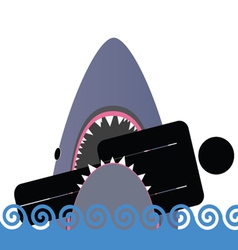 shark icon color vector image
