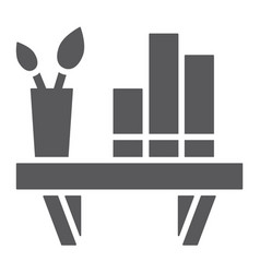 Shelf glyph icon furniture and home bookshelf vector