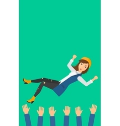 Successful business woman during celebration vector image
