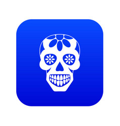 sugar skull flowers on the skull icon digital vector image