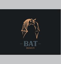 The bat flaps its big wings vector