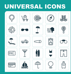Travel icons set collection of marker relax vector
