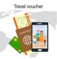 travel voucher lettering color vector image