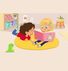Two girls reading book in a vector