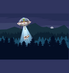 Ufo abducting a cow summer night forest landscape vector