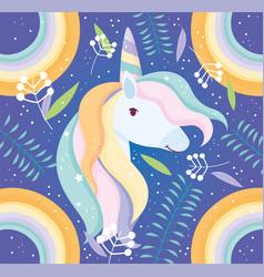 unicorn rainbow floral decoration fantasy magic vector image