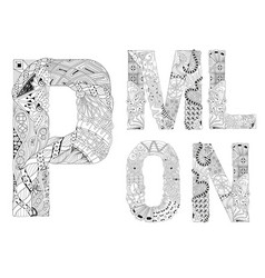 unusual alphabet doodle style letters on a white vector image