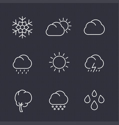 weather icons set in linear style vector image