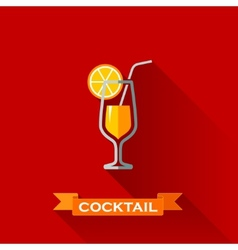 with a cocktail in flat design style with long vector image