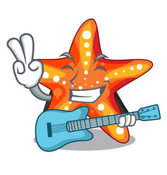 With guitar starfish isolated with in the cartoons vector