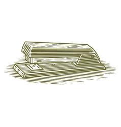 Woodcut stapler vector