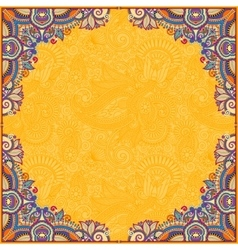 Yellow floral vintage frame ukrainian ethnic vector