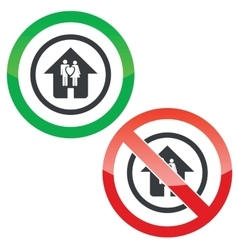 Young family house permission signs vector image