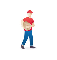 young man courier delivery services vector image