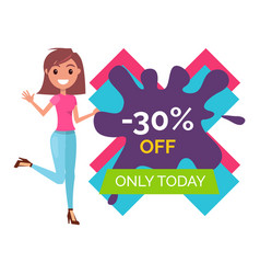Young woman stands and points to 30 off only today vector