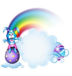 A bunny above the egg near the rainbow vector image
