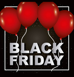 black friday red balloons poster sale shop vector image