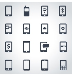 black mobile icon set vector image vector image