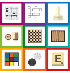 Flat icon entertainment set of cube chess table vector
