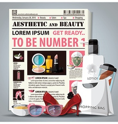 Aesthetic And Beauty Newspaper Lay Out With vector image