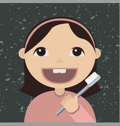 cartoon girl brushing teeth vector image vector image