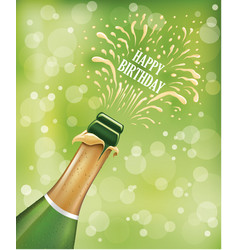 champagne bottle popping explosion on birthday vector image