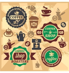 Coffee labels and icons vector