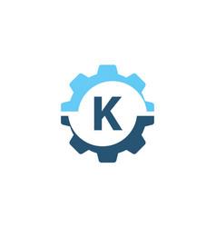 gear solution logo initial k vector image vector image