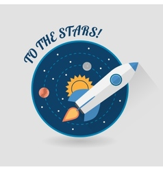 Start up concept space rocket modern flat design vector