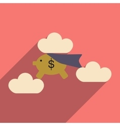 Flat with shadow icon piggy bank in the clouds vector